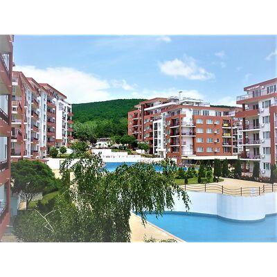 """ID642 Двухкомнатная квартира с видом на море в комплексе """" Панорама Форт Бич"""", Святой Влас"""